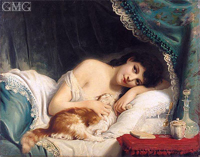 Fritz Zuber-Buhler: A Reclining Beauty with Her Cat
