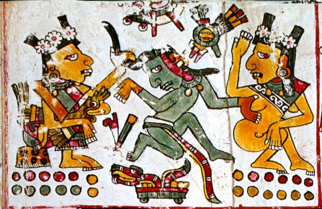 Xochiquetzal (left) from the Codex Borgia, seducing a priest (middle).