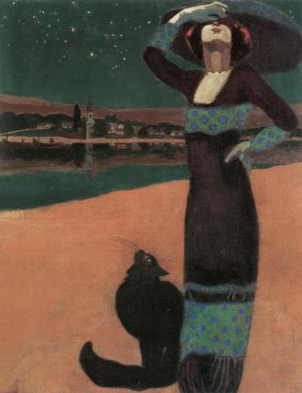 Slim Woman with a Cat by Geza Farago