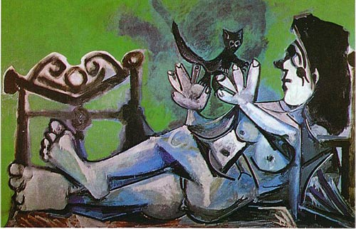 Lying Female Nude with Cat by Pablo Picasso